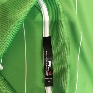 Polo RLX Golf Shirt - Green and white size L -